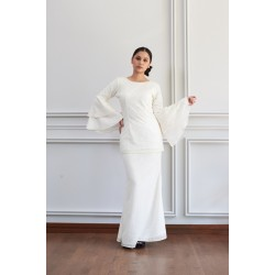 LARISA Full Lace Kurung With Bell Sleeves in White