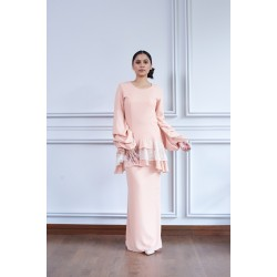 KATYA Double Chiffon Voluminous Sleeves With Lace Kurung