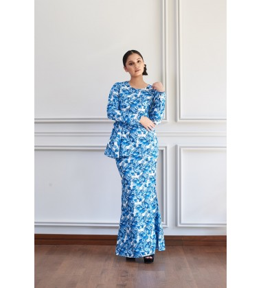 ANOUK Floral Cotton Satin Kurung in Blue