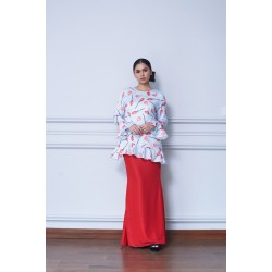 ESSIE Printed Top Ruffles Kurung in Red