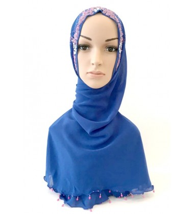RUBY halfmoon chiffon beaded scarf in Blue