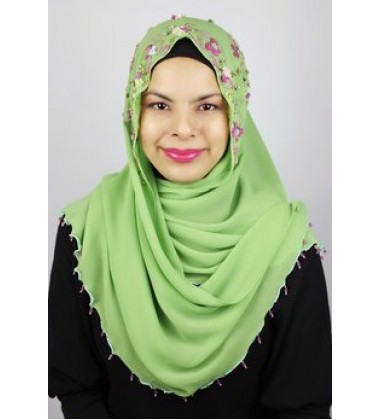 RUBY halfmoon chiffon beaded scarf in Green ( A )