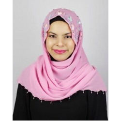 RUBY halfmoon chiffon beaded scarf in Pink ( A )