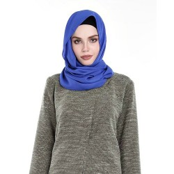 SALMA Metallic Chiffon Shawl in Blue