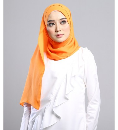 SALMA metallic chiffon shawl in Sunrise Orange
