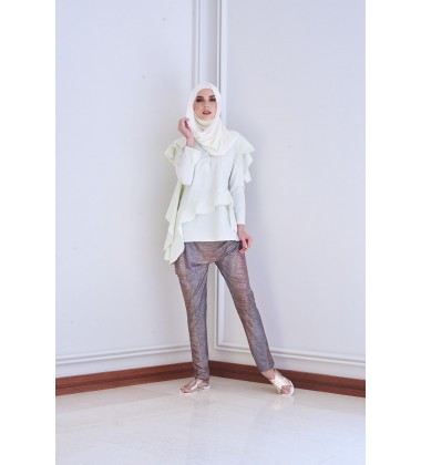 AUDREE Metallic Slouchy Pants in Pink