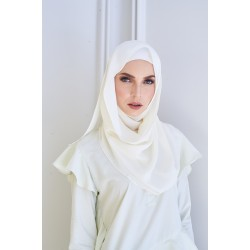 SALMA metallic chiffon shawl in White