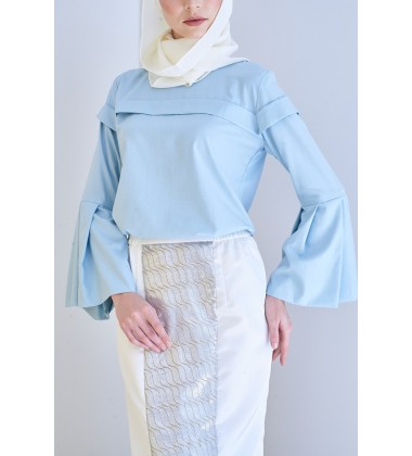 YASU Bell Sleeved Top in Blue