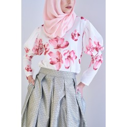 EVANIA Floral Top in White/Pink