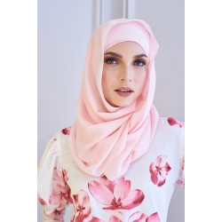 SALMA Metallic Chiffon Shawl in Pink