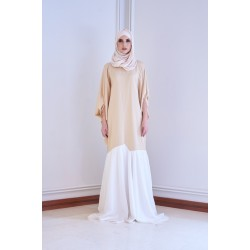 RAINEY Slim Cut Kaftan Dress in Brown/White