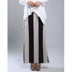 NADRIA Straight Cut Sripe Skirt in Brown Black