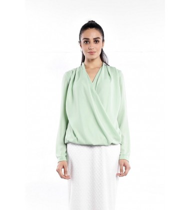 TALA crossed pleated blouse in Green
