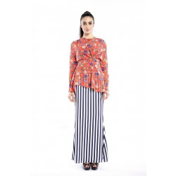 WAQEEA draped floral top with striped skirt in Red