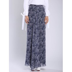 Zariya Chiffon Printed Drappy Skirt in Blue