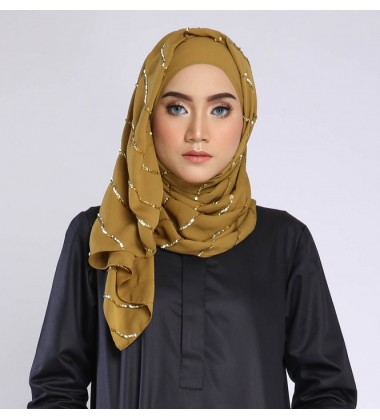 NAFSIA sequin selendang in Dark Mustard