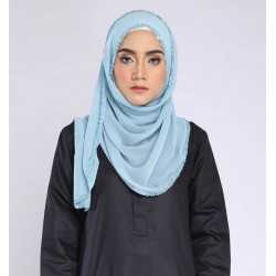 FATIMA Embellished Shawl in Pale Blue