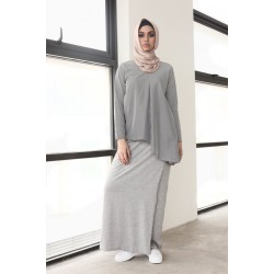 ADIELA cotton jersey overlap skirt in Grey