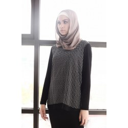 EVELINA Jersey Top With Printed Poly
