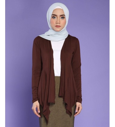 FATIN jersey knit cardigan in Brown