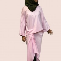 AVALEIGH Drape and Pleats Long Top in Pink