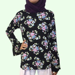 CITRA Loose Fit Floral Blouse In Black