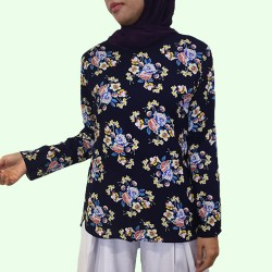 INDAH Side Curve Floral Blouse in Navy Blue