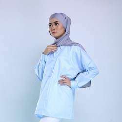 AURORA oversized cotton shirt in Soft Blue