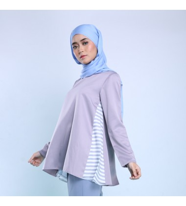 ELISHA Side  Stripe Top in Grey