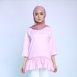 ERICA Ruffled Cotton Shirt in Pink