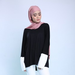 PORTIA Monochrome Jersey Top in Black/White