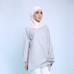 RARA Top With Tie Waist in Grey
