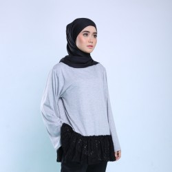 ROSALIE Loose Top With Ruffle in Black/Grey