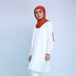CAMILLE Back Draped Cotton Tunic in White
