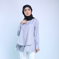 RAVEN Blouse Layer Cotton Shirt in Black/Grey