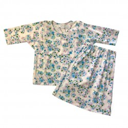 BLUE FLORAL ON WHITE PRINT COTTON JERSEY BAJU KURUNG BABY GIRL
