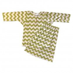 CHARTREUSE CHEVRON PRINT COTTON JERSEY BAJU KURUNG GIRLS