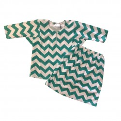TEAL GREEN CHEVRON PRINT COTTON JERSEY BAJU KURUNG BABY GIRL
