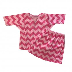PINK ON PINK CHEVRON PRINT COTTON JERSEY BAJU KURUNG BABY GIRL