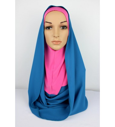 SARIMA Lycra and Chiffon Hoody in Pink/Blue