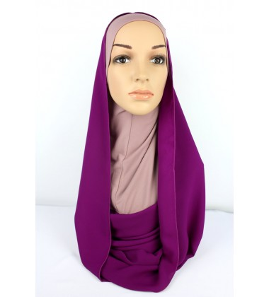 SARIMA Lycra and Chiffon Hoody in Dusty Pink/Purple
