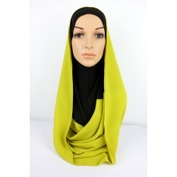 SARIMA Lycra and Chiffon Hoody in Black/Lime Green