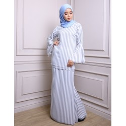 WARDA striped chiffon baju kurung modern in Grey Stripe