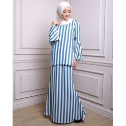 WARDA striped chiffon baju kurung modern in Blue Stripe
