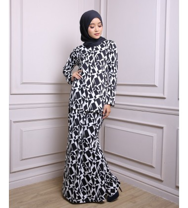 HALEEMA printed lycra baju kurung in Black/White