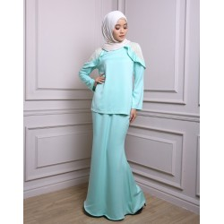 ALIYAH Ruffle Shoulder Lace Baju Kurung in Mint Green