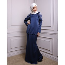 ALIYAH Ruffle Shoulder Lace Baju Kurung in Navy Blue