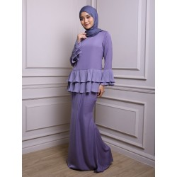 KHALISAH Chiffon Pleats Baju Kurung in Purple
