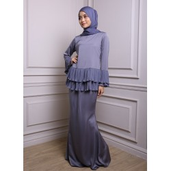 KHALISAH Chiffon Pleats Baju Kurung in Grey
