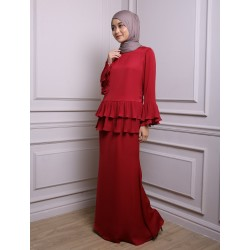 KHALISAH Chiffon Pleats Baju Kurung in Red